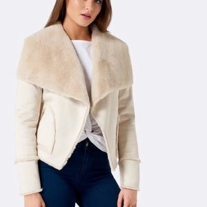 NWOT Ever New Faux Fur and Suede Waterfall Jacket